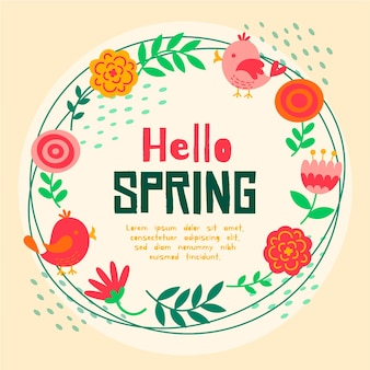 赤い花のフレームとこんにちは春レタリング