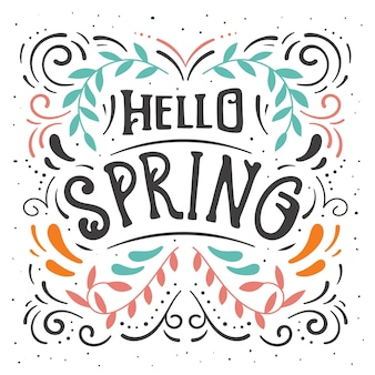 Hello spring lettering with wavy lines