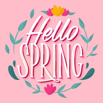 Hello spring lettering with wreath of flowers