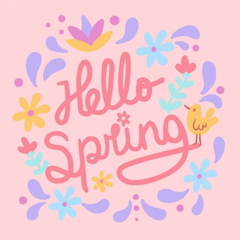 Hello spring lettering with yellow bird and flowers