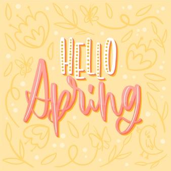 こんにちは、花の背景が黄色の春レタリング