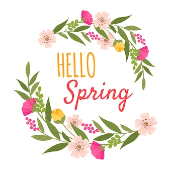 Hello spring ornament with flowers