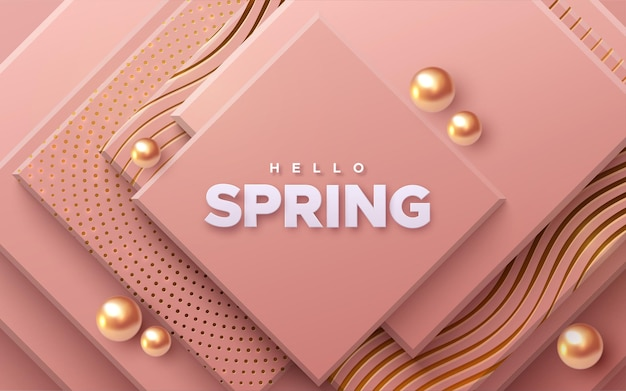 Hello spring paper sign on soft pink squares background with golden spheres