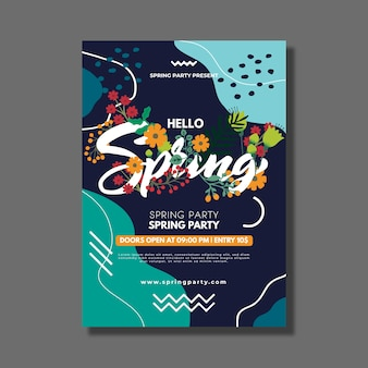 Hello spring poster template