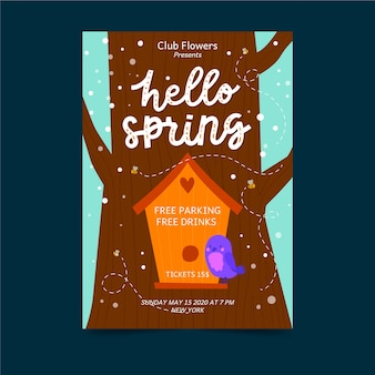 Hello spring poster with bird house