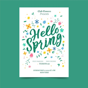 Hello spring poster with flowers