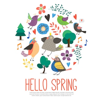 Hello spring round template in flat style