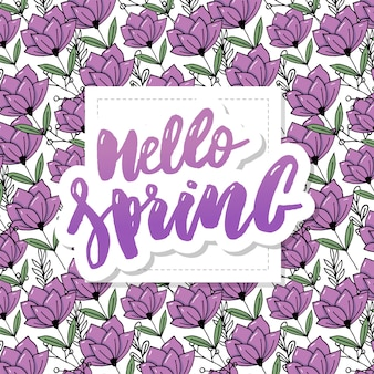 Hello spring sale background with beautiful flower