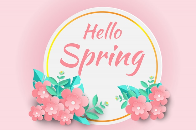 Hello spring sale background with beautiful paper flowers.