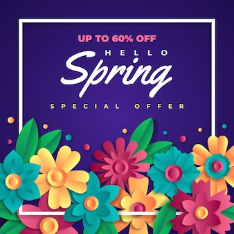 Hello spring sale in paper style