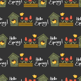 Hello spring seamless pattern