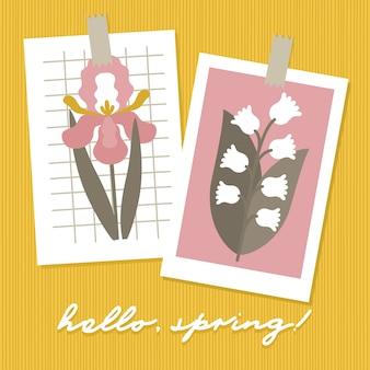 Hello spring seasonal cards.