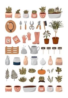 こんにちは春セット。ガーデニングツール、花、植物、フラットな漫画スタイルの他のかわいい庭の要素。