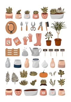 Hello spring set. gardening tools, flowers, plants and other cute garden elements in flat cartoon style.