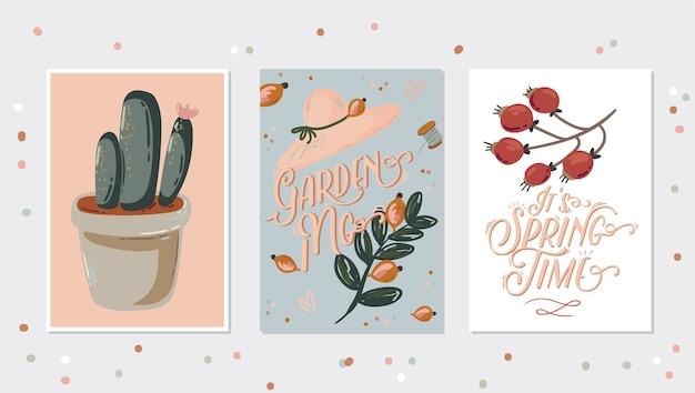 手描きの庭の要素ツールとレタリングとハロースプリングセット