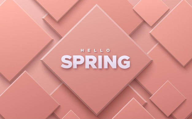 Hello spring sign on abstract background with soft pink geometric shapes.