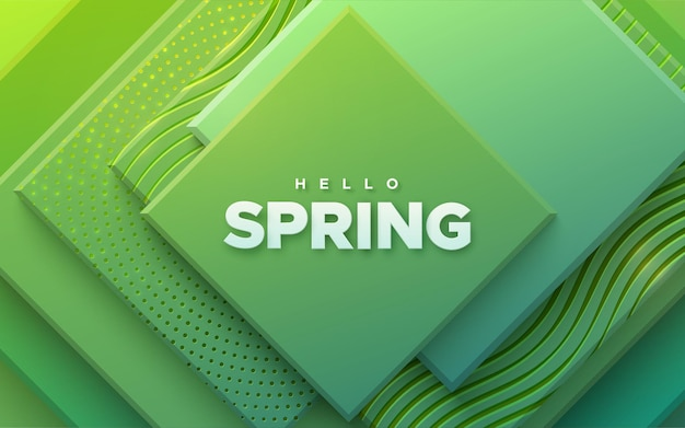 Hello spring sign on green geometric background