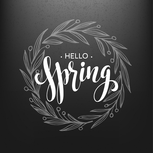 Hello spring. spring wreath. spring flowers are drawn with chalk on black chalkboard. sketch, design elements.  illustration
