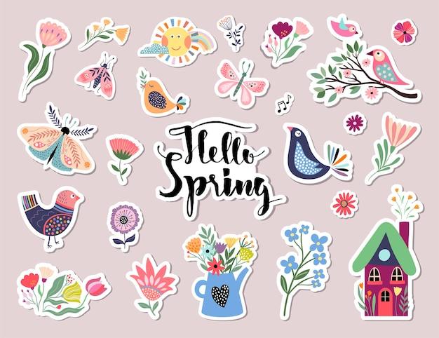 다른 계절 요소와 안녕하세요 봄 스티커 컬렉션