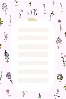 Hello spring and summer planner template with cute flowers in flat outline style. organizer with place for notes, to do list, wish list.