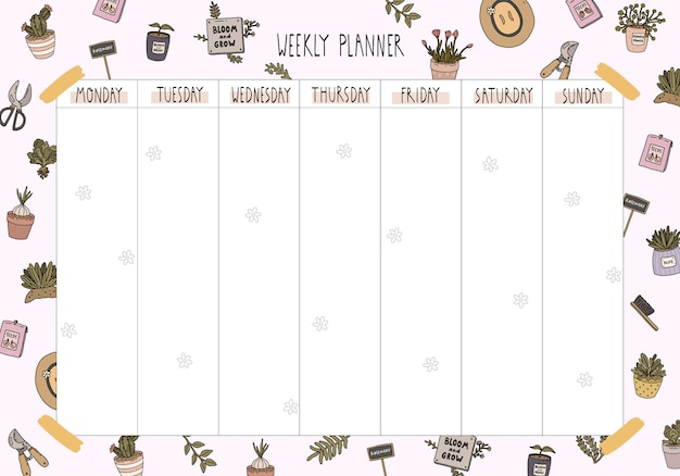 Hello spring and summer weekly planner template with cute gardening tools and flowers in cartoon style.