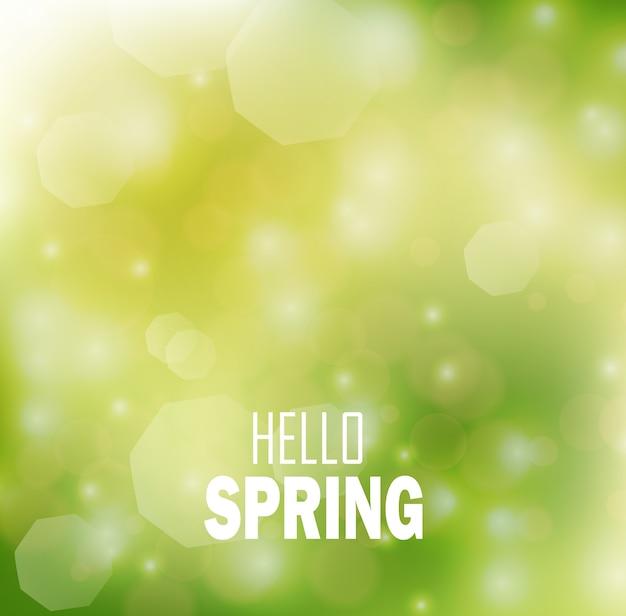 안녕하세요 밝은 bokeh 배경으로 봄 템플릿