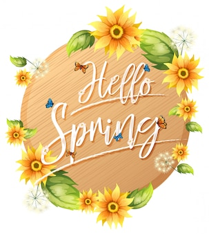 Hello spring text lettering