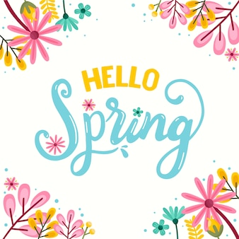 Hello spring theme for lettering with decoration