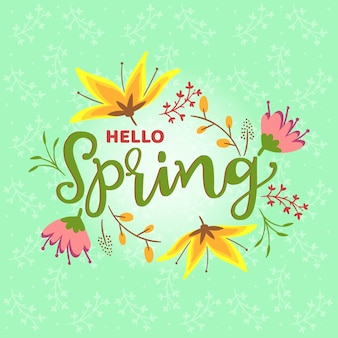 Hello spring theme for lettering
