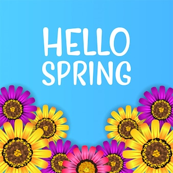 Hello spring top view flower blossom