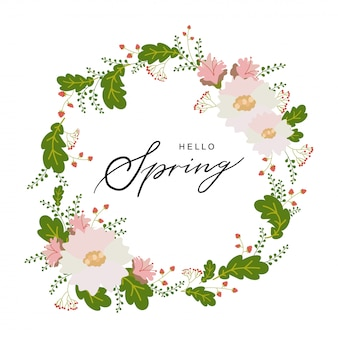 Hello spring typography hand drawn lettering poster with flower wreath decor.