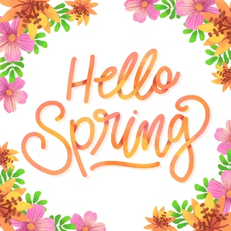 Hello spring typography with colorful decoration