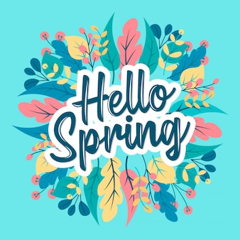 Hello spring typography with flower