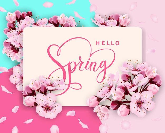 Привет весна вектор баннер дизайн с цветами вишня и рамка весенняя распродажа