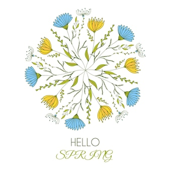 Hello spring. vector illustration of a beautiful floral round art with cute doodle flowers