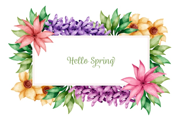 Hello spring wallpaper with colorful flowers