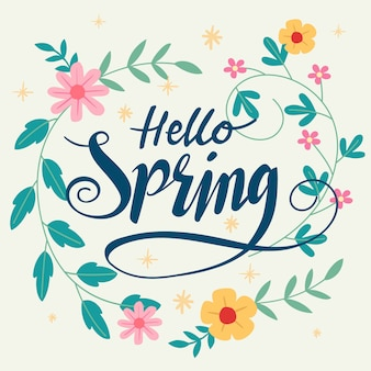 Hello spring wallpaper with flowers