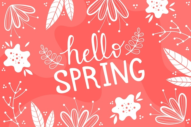 Hello spring wallpaper with leaves