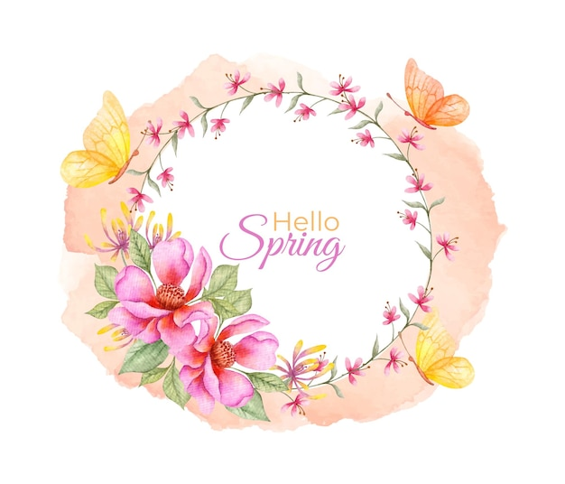 Hello spring watercolor floral frame with butterflies