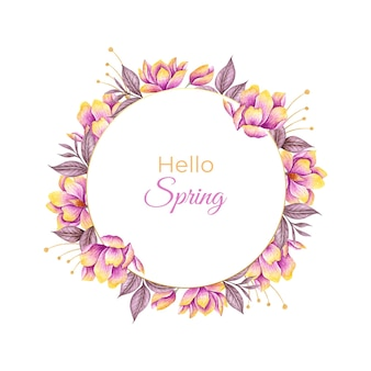 Hello spring watercolor floral frame with colorful flowers