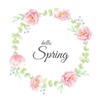 Hello spring watercolor pink peony flower wreath frame