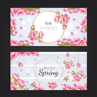 Hello spring with beautiful flower background