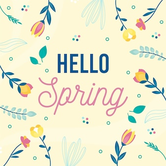 아름다운 꽃과 함께 안녕하세요 봄