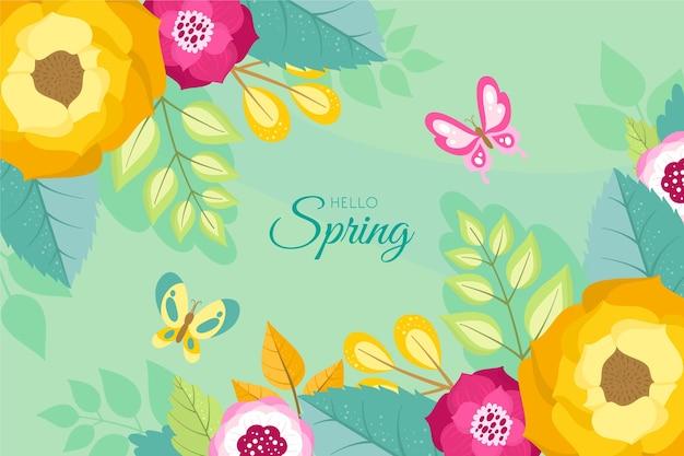 Привет весна с цветами крупным планом и листьями