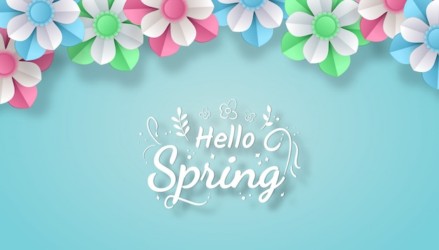 Hello spring with colorful flower paper cut art style