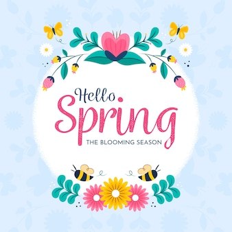 Hello spring with colorful flowers