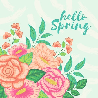 Hello spring with colorful theme