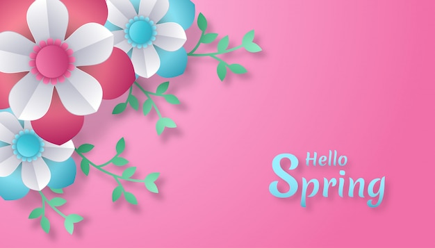 Hello spring with flowers and leaves paper cut art style.