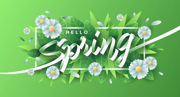 Hello spring with flowers and leaves