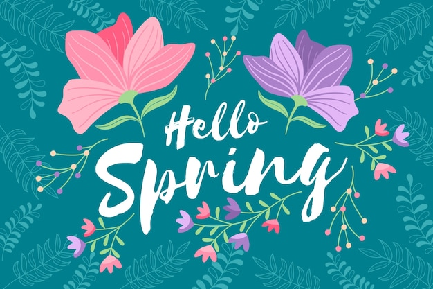 Hello spring with flowers
